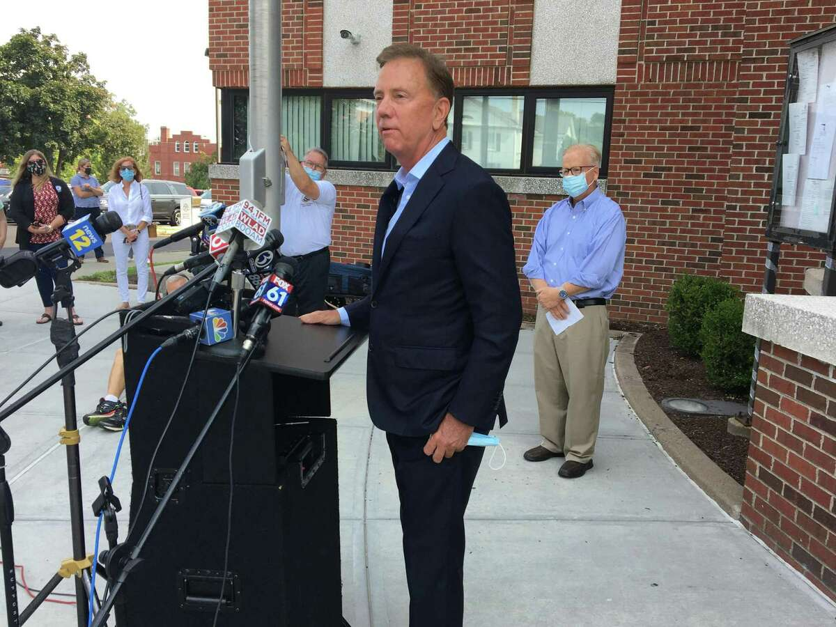 Gov. Ned Lamont holds a press conference Tuesday in Danbury, where there has been a recent increase in COVID-19 cases.
