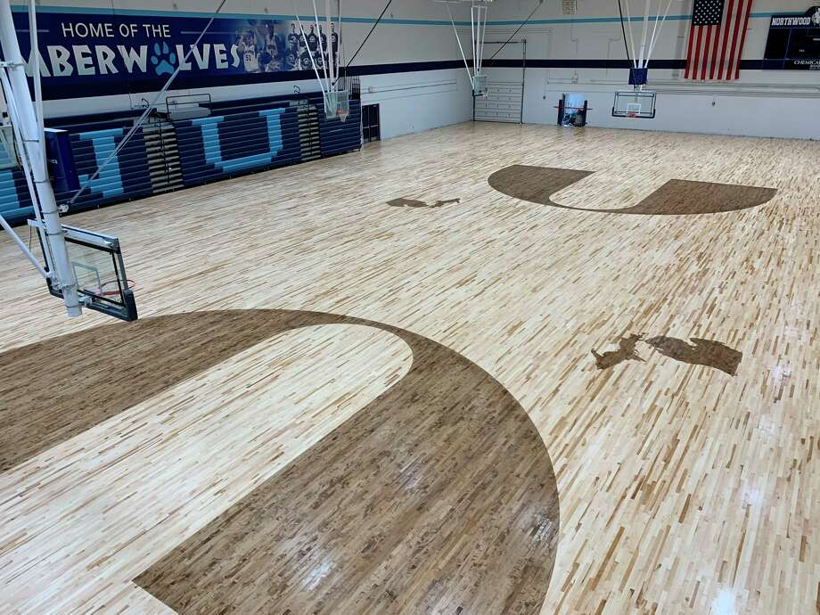 Northwood's new gym floor in the Bennett Center is seen from the upper annex of Riepma Arena on Aug. 12.