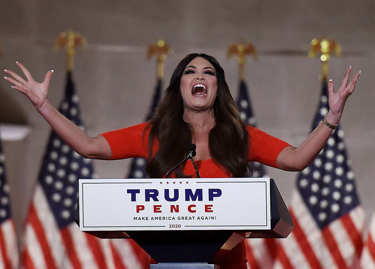 Kimberly Guilfoyle speaks during the first day of the Republican convention at the Mellon auditorium on Aug. 24, 2020, in Washington, D.C.