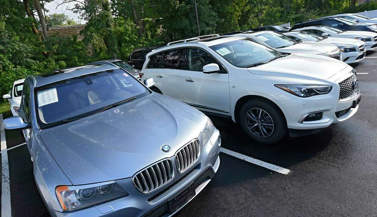 Used vehicles are seen on the lot at Bul AutoSale on Tuesday, Aug. 25, 2020 in Colonie, N.Y. (Lori Van Buren/Times Union)