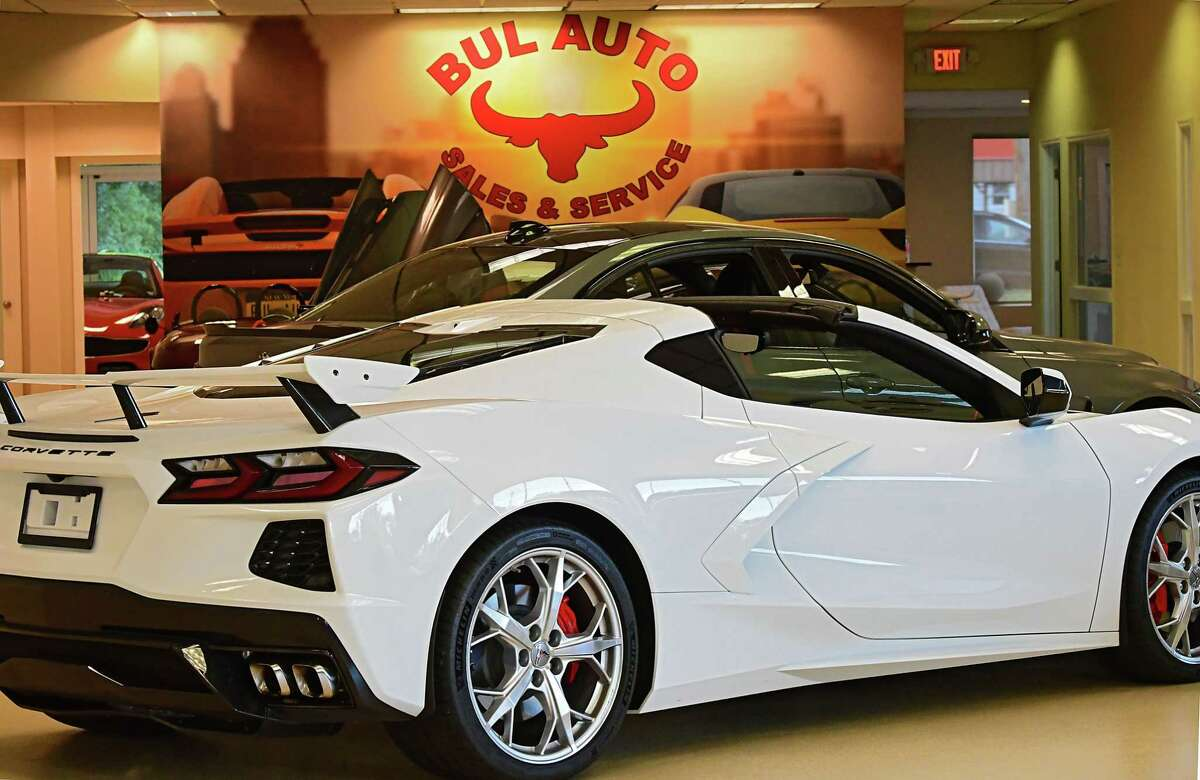 Used vehicles are seen in the showroom at Bul AutoSale on Tuesday, Aug. 25, 2020 in Colonie, N.Y. (Lori Van Buren/Times Union)