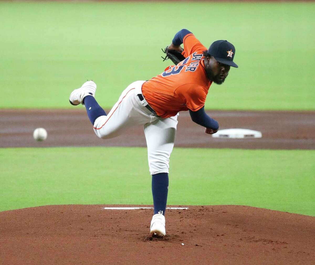 Houston Astros starting pitcher Cristian Javier (53) pitches during the first inning of an MLB baseball game at Minute Maid Park, Tuesday, August 25, 2020, in Houston.