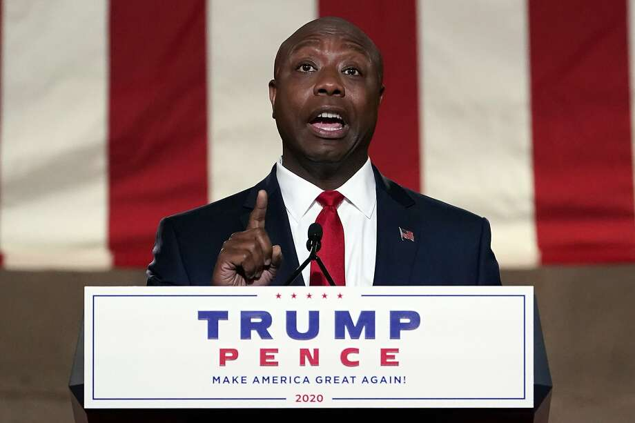 Sen. Tim Scott, R-S.C., speaks during the first night of the Republican National Convention from the Andrew W. Mellon Auditorium in Washington, Monday, Aug. 24, 2020. (AP Photo/Susan Walsh) Photo: Susan Walsh / Associated Press