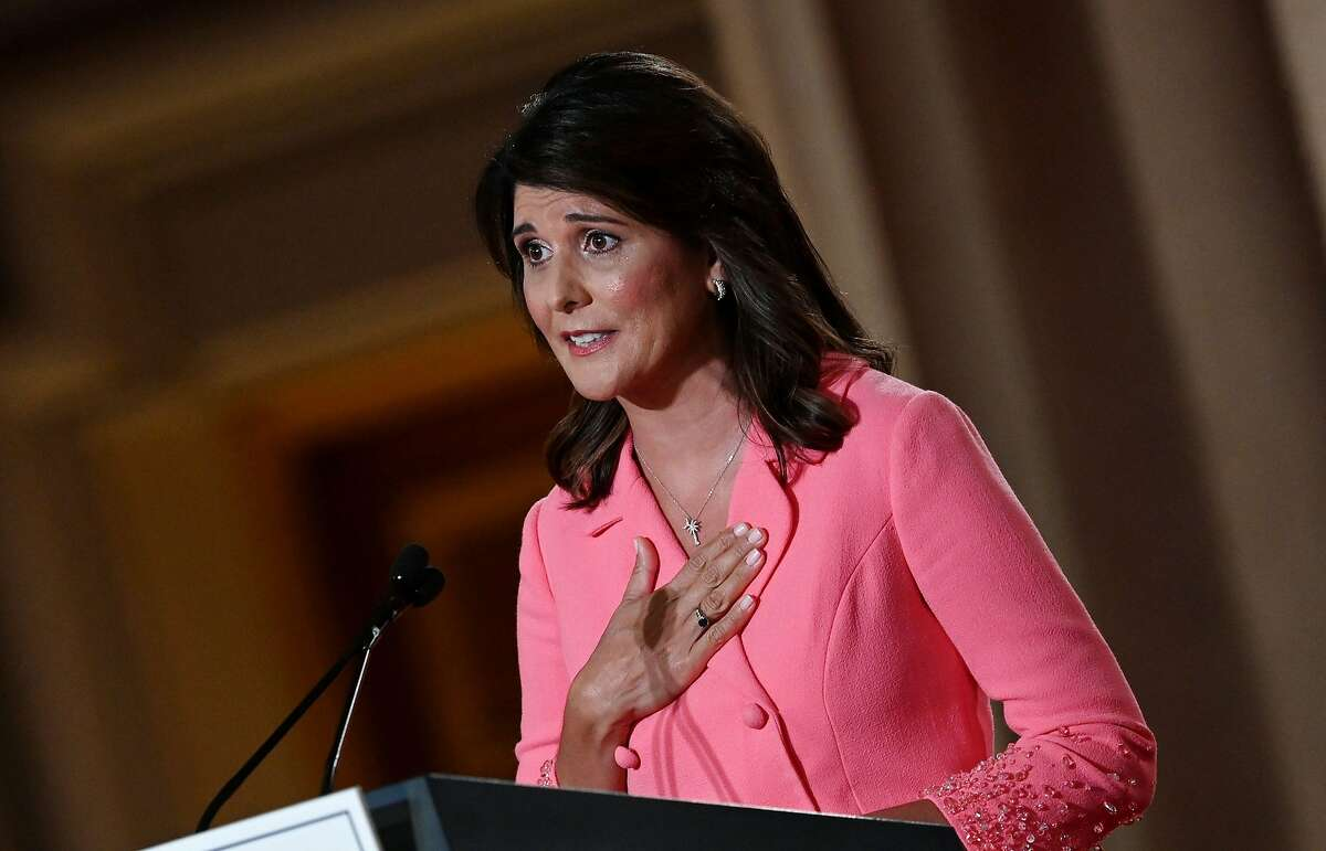 Former Ambassador to the United Nations Nikki Haley speaks during the first day of the Republican convention at the Mellon auditorium on August 24, 2020 in Washington, DC (Photo by Olivier DOULIERY / AFP) (Photo by OLIVIER DOULIERY/AFP via Getty Images)