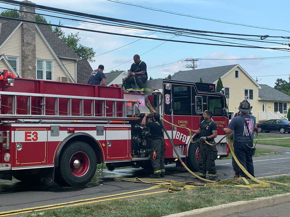 Fire units operating at a fire on Park Avenue in Bridgeport, Conn., on Tuesday, Aug. 25, 2020.