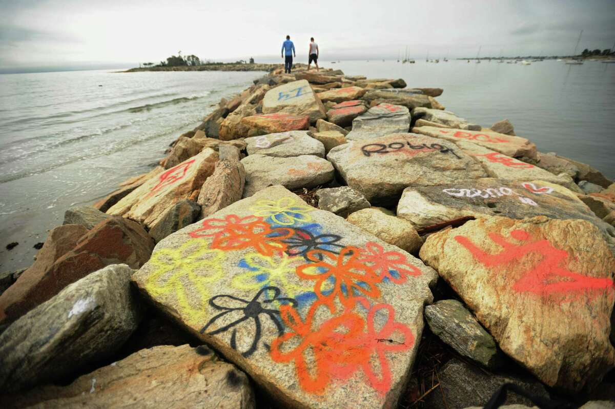 File photo of rocks off Seaside Park in Bridgeport, Conn., taken on Tuesday, Sept. 11, 2018.