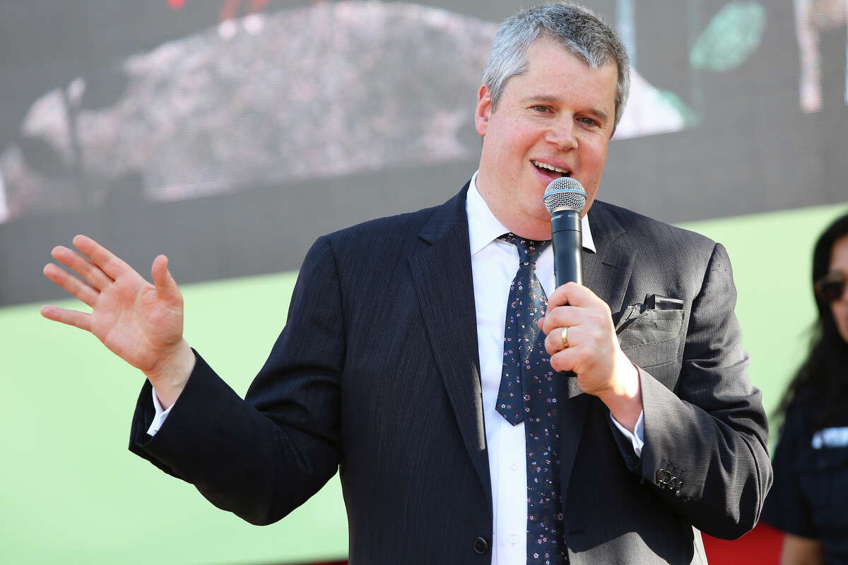 FILE PHOTO: Author Daniel Handler, a.k.a. Lemony Snicket, speaks onstage at the 18th annual L.A. Times Festival of Books at USC. Handler and his wife have pledged $10,000 for San Francisco schools.