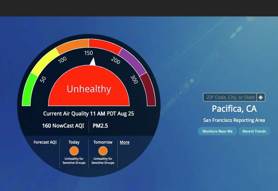 "AirNow's zip code-based air quality tool gave Pacifica 94044 an ""unhealthy"" 160 score on the morning of Tuesday, Aug. 25, 2020. Photo: AirNow.gov"