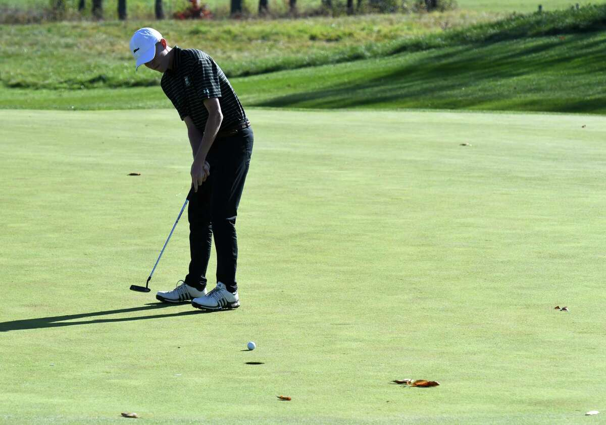 Paul Goetz of Shenendehowa makes putt at the 12th during the Section II state golf qualifier final round on Monday, Oct. 21, 2019, at Orchard Creek Golf Course in Guilderland N.Y. (Will Waldron/Times Union)
