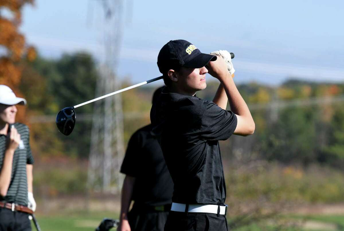 A.J. Cavotta of Saratoga Springs tees off at the 13th during the Section II state golf qualifier final round on Monday, Oct. 21, 2019, at Orchard Creek Golf Course in Guilderland N.Y. (Will Waldron/Times Union)