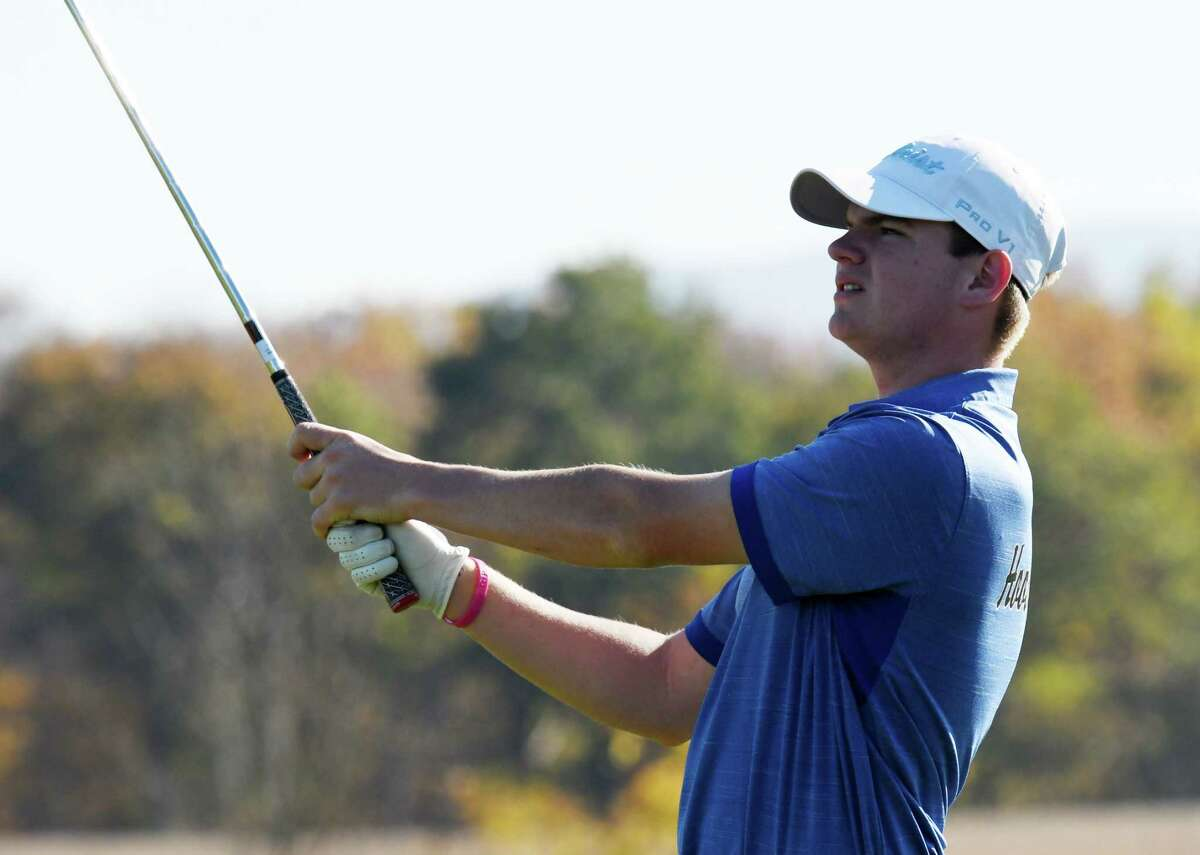Ryan Bloomer of Hoosick Falls tees off at the 14th during the Section II state golf qualifier final round on Monday, Oct. 21, 2019, at Orchard Creek Golf Course in Guilderland N.Y. (Will Waldron/Times Union)