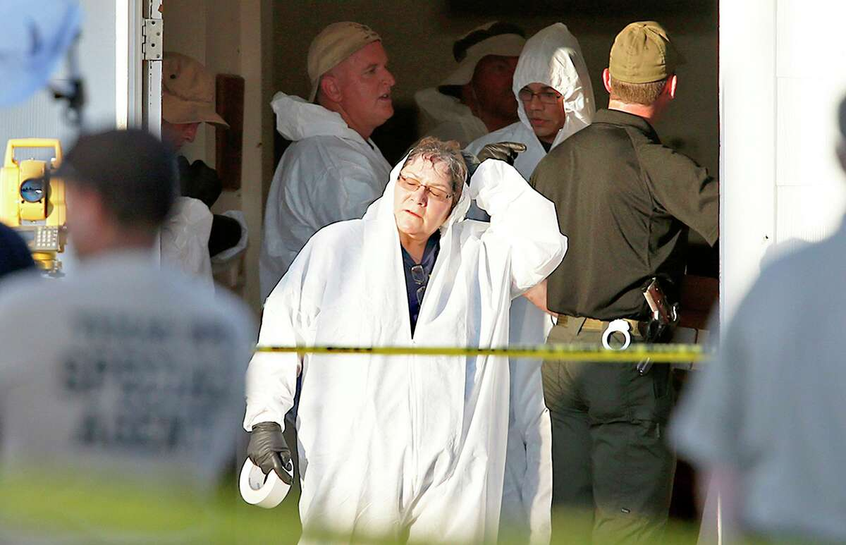 First responders work at the scene of the Sutherland Springs church slaughter in November 2017.