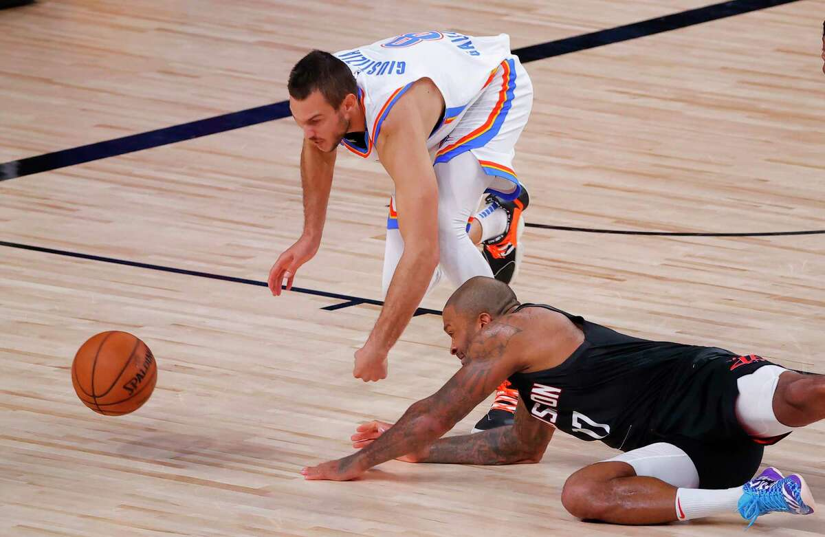 The Rockets have been letting this first-round series slip away from them, like this ball just out of P.J. Tucker's reach against the Thunder's Danilo Gallinari.