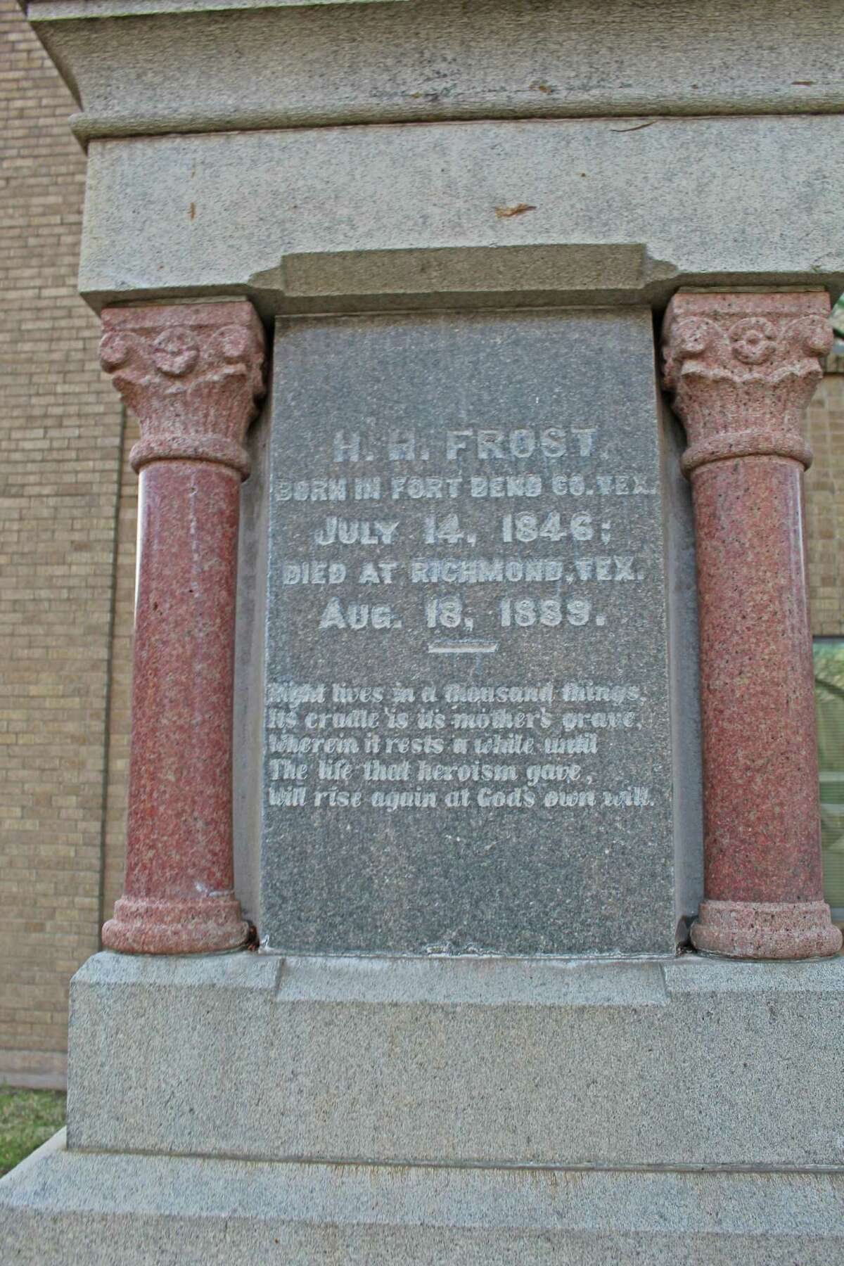 Inscription on one side of the Jaybird Monument in Richmond