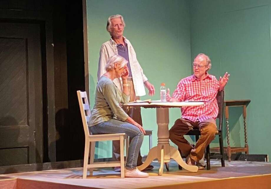 Actors Gail and Ted Yudain, and David Jackins rehearse The Outgoing Tide on The Powerhouse stage. Photo: Town Players Of New Canaan / Contributed Photo