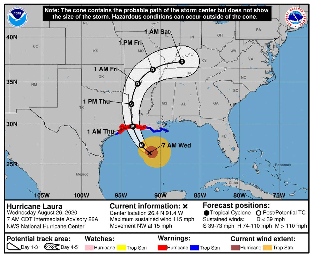 The track for Hurricane Laura is seen on Wednesday, Aug. 26, 2020.