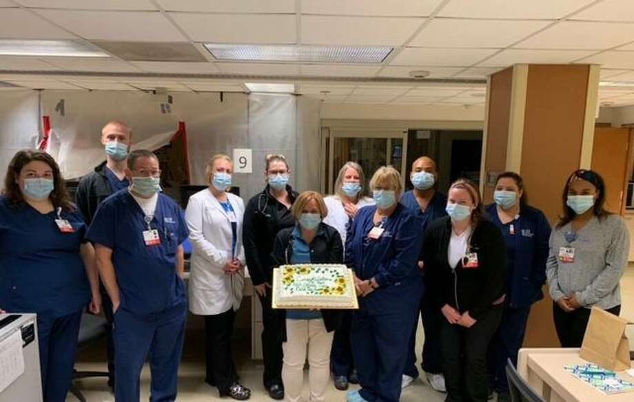 the American Heart Association/American Stroke Association has honored OSF Saint Anthony's Stroke Response Team. From left are, back row, Damian Reed, ICU RN; Amber Criswell, Vituity Hospitalist APRN; Kelly Riney, Vituity Hospitalist APRN; Charlotte Liley, RN, Med Surg Manager; Paul Erpelo, ICU RN; Becky Miller, RN, Administrative Supervisor; A'Kya Adams, Med Surg RN; front row, Sarah Sutton, ICU RN; Tim O'Neill, ICU RN; Michelle Lovsey, Stroke Coordinator, APRN; Becky Witta, Med Surg RN; Rebecca Vaughn, RN, ICU Manager.