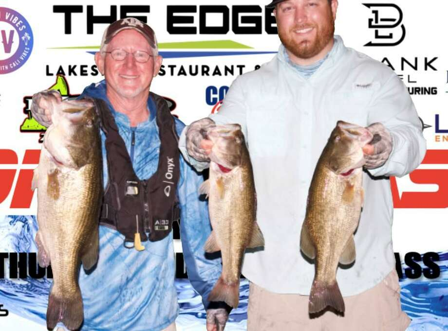 David Perciful and Bo Brown won the CONROEBASS Tuesday Night tournament with a stringer weight of 15.02 pounds. Photo: Conroe Bass