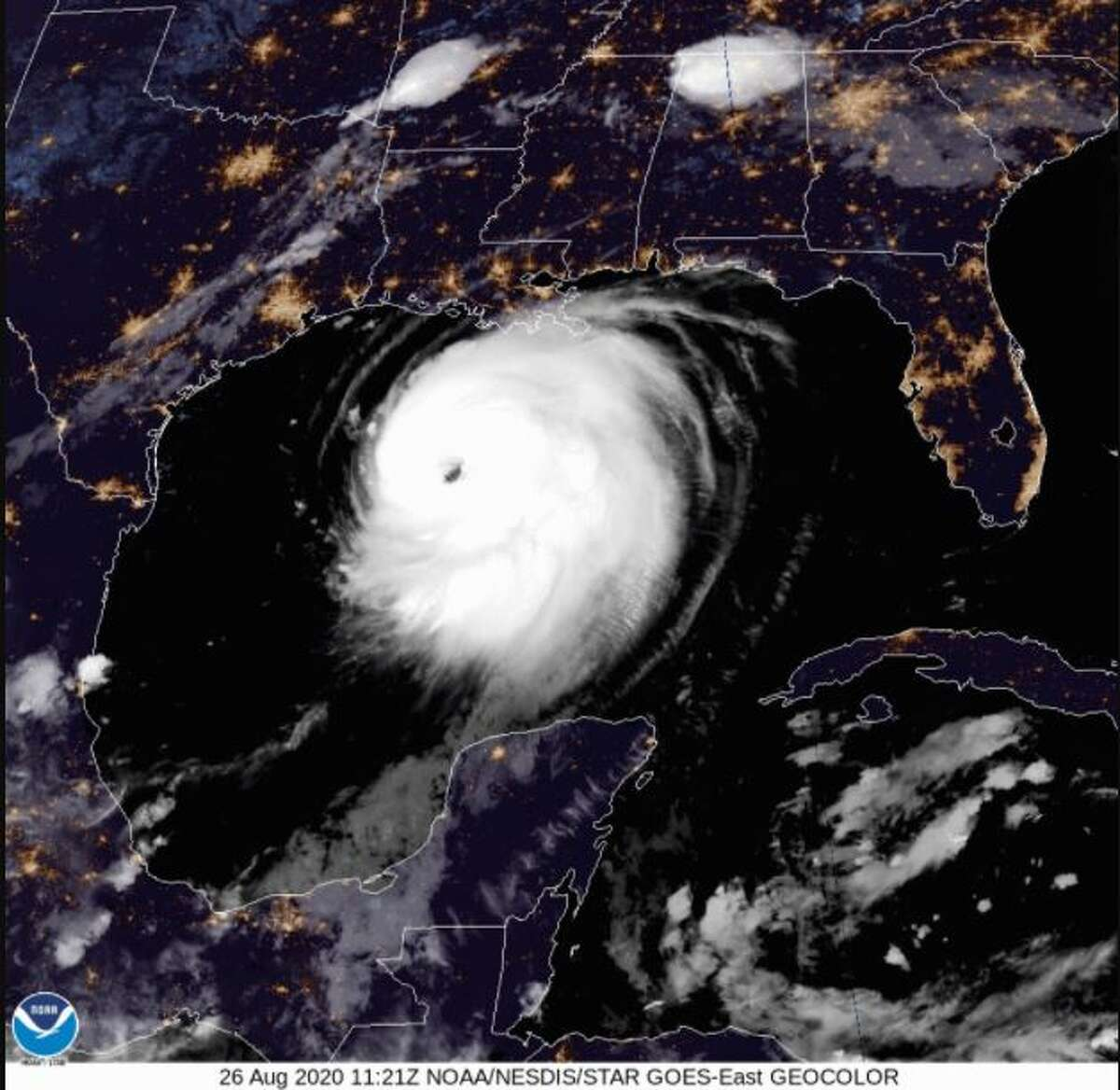 Houston police chief Art Acevedo didn't mince words when he sent a stern warning about looting ahead of Hurricane Laura's landfall. NWS Image: The eye of Hurricane Laura, August 26, 2020.