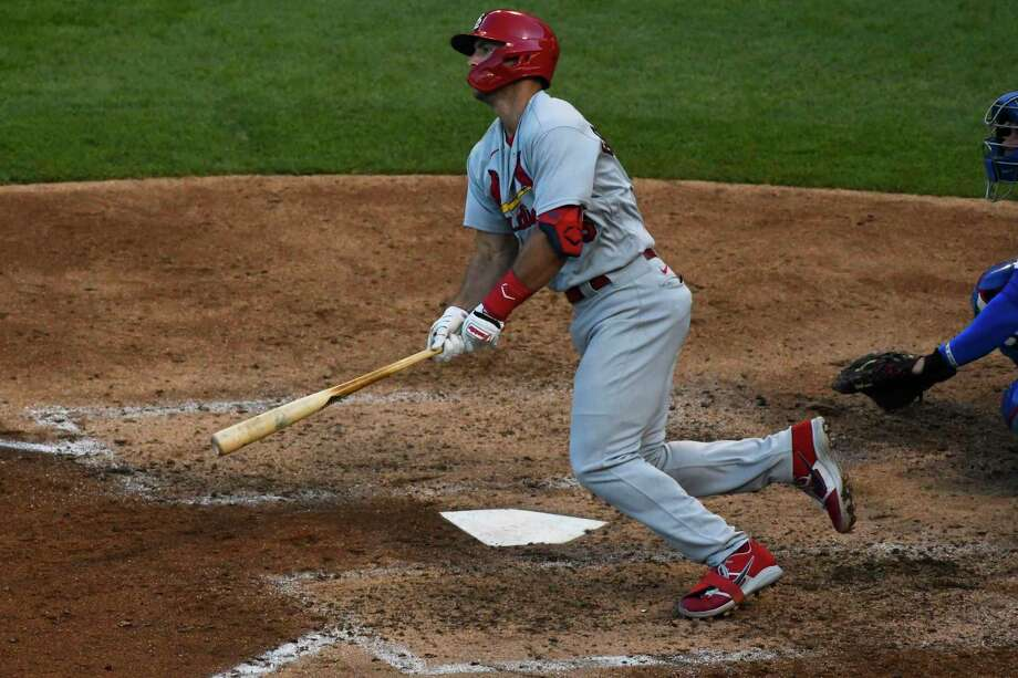 St. Louis Cardinals' Paul Goldschmidt hits a double during the seventh inning of Game 1 of a baseball doubleheader against the Chicago Cubs, Monday, Aug. 17, 2020, in Chicago. (AP Photo/Matt Marton) Photo: Matt Marton, FRE / Associated Press / Copyright 2020 The Associated Press. All Rights Reserved.