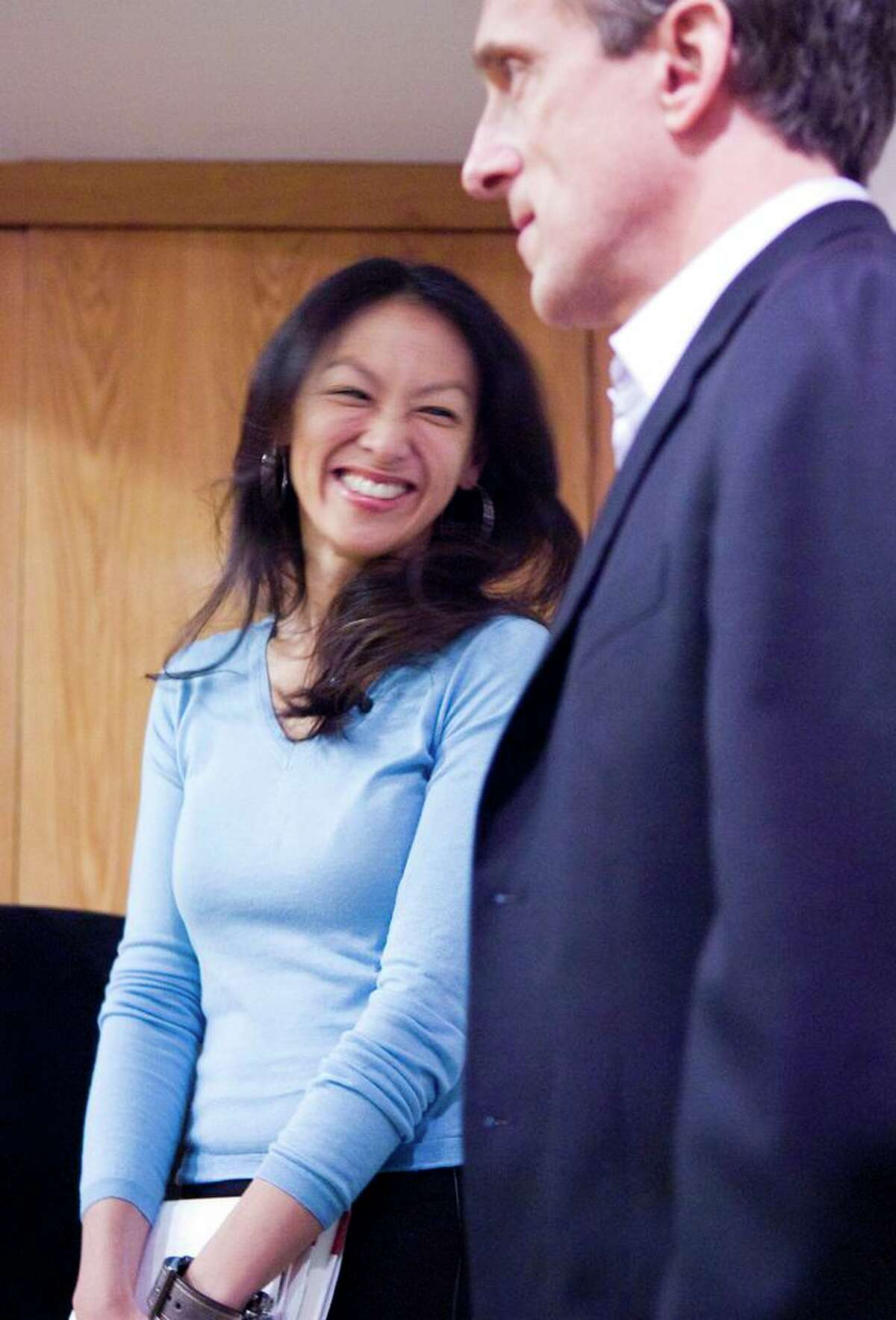 """Husband-and-wife authors Jed Rubenfeld and Amy Chua speak about their books """"The Death Instinct"""" and """"Battle Hymn of the Tiger Mother"""" at New Canaan Library in New Canaan April 3, 2011."""