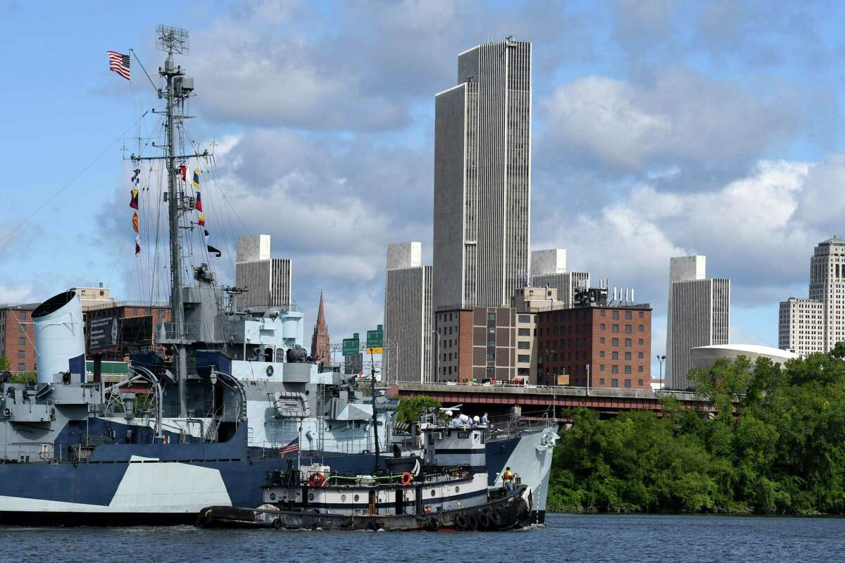 USS Slater returns to Albany after undergoing repairs to the historical museum on Wednesday, Aug. 26, 2020, on the Hudson River in Albany N.Y. (Will Waldron/Times Union)