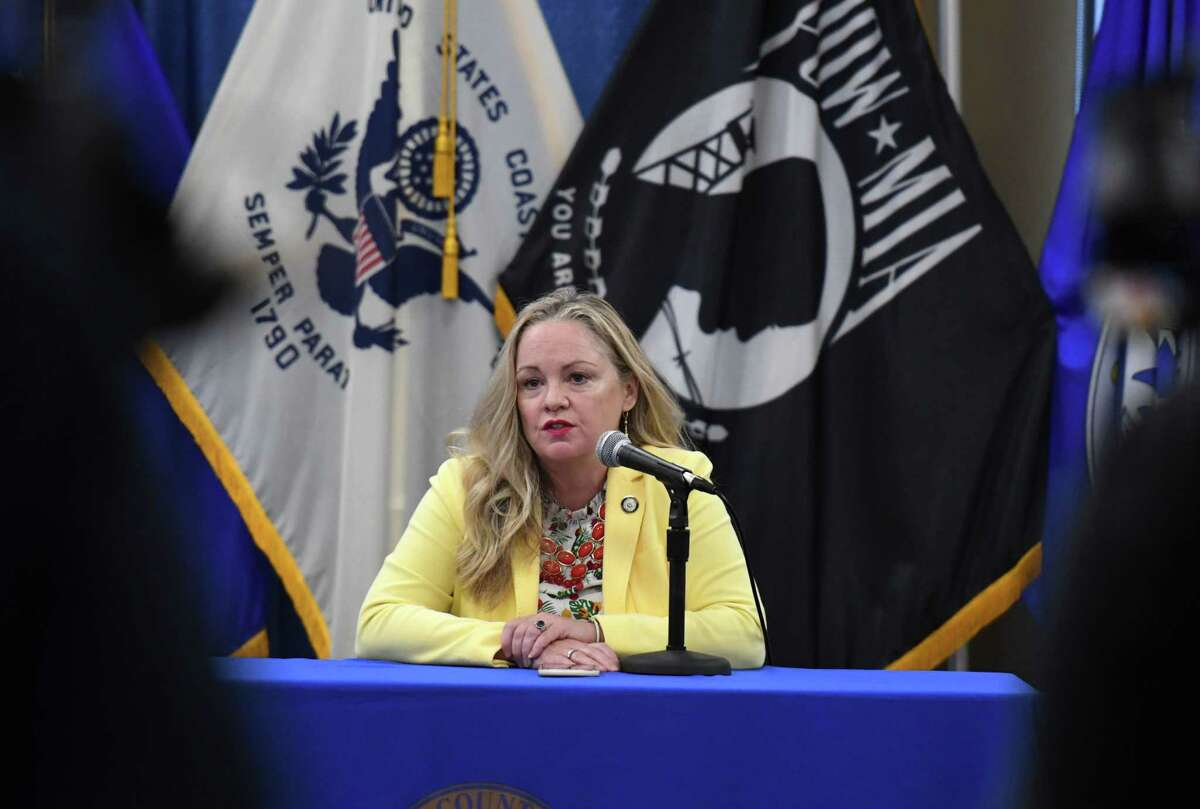 Albany County Department of Health Commissioner Dr. Elizabeth Whalen holds a county coronavirus press briefing with Albany County Executive Daniel McCoy on Wednesday, Aug. 26, 2020, at the Albany County offices in Albany N.Y. (Will Waldron/Times Union)