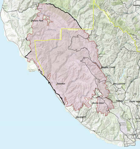 The boundary of the CZU Lightning Complex Fire as of Aug. 26, 2020. Photo: Cal Fire