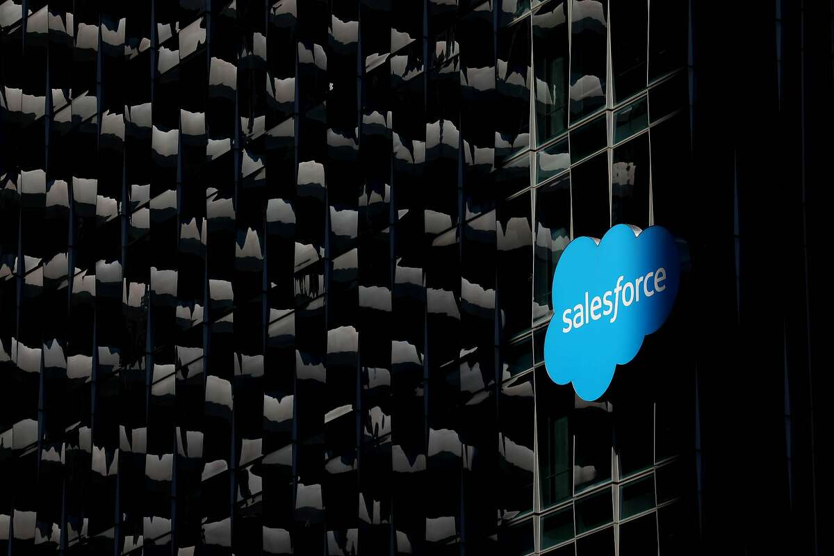 Salesforce signage at the corner of Fremont and Mission on Wednesday, August 19, 2020, in San Francisco, Calif.