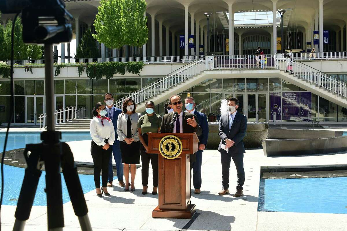 University at Albany President Havid‡n Rodr'guez announces COVID safety protocols and screening practices now that classes have resumed for the fall 2020 semester at University at Albany on Wednesday, Aug. 26, 2020 in Albany, N.Y (Lori Van Buren/Times Union)