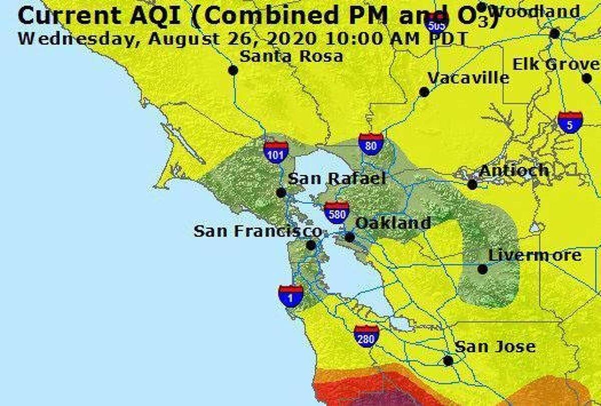 An air quality map shows good or moderate levels throughout much of the Bay Area on Wednesday morning, Aug. 26, 2020.