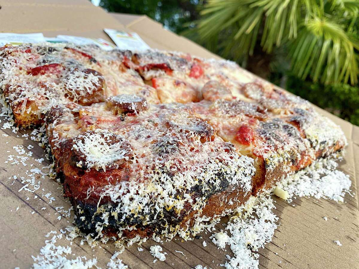 A Sicilian pizza can be ordered with sausage and roasted red pepper at Barbaro, an Italian restaurant, bar and pizzeria in Monte Vista.