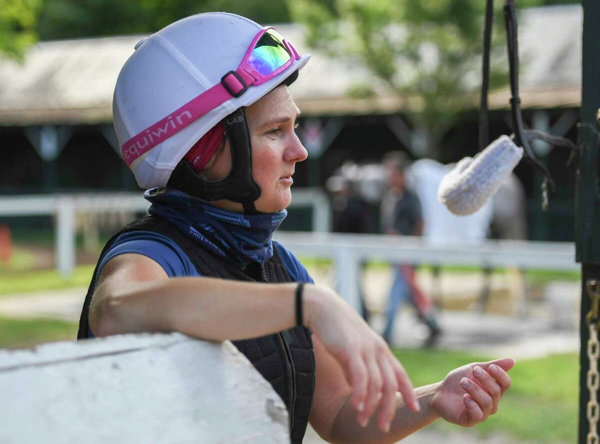 Heather Smullen who has put in time in the saddle of Tiz the Law speaks to the media Wednesday Aug.26, 2020 at the Saratoga Race Course in Saratoga Springs, N.Y. Photo by Skip Dickstein/Special to the Times Union