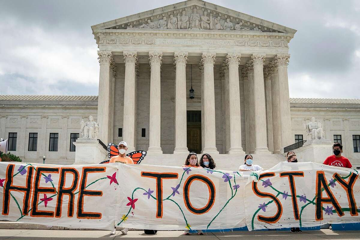 DACA recipients and their supporters rally outside the U.S. Supreme Court in Washington, D.C., on June 18, 2020. (Drew Angerer/Getty Images/TNS)