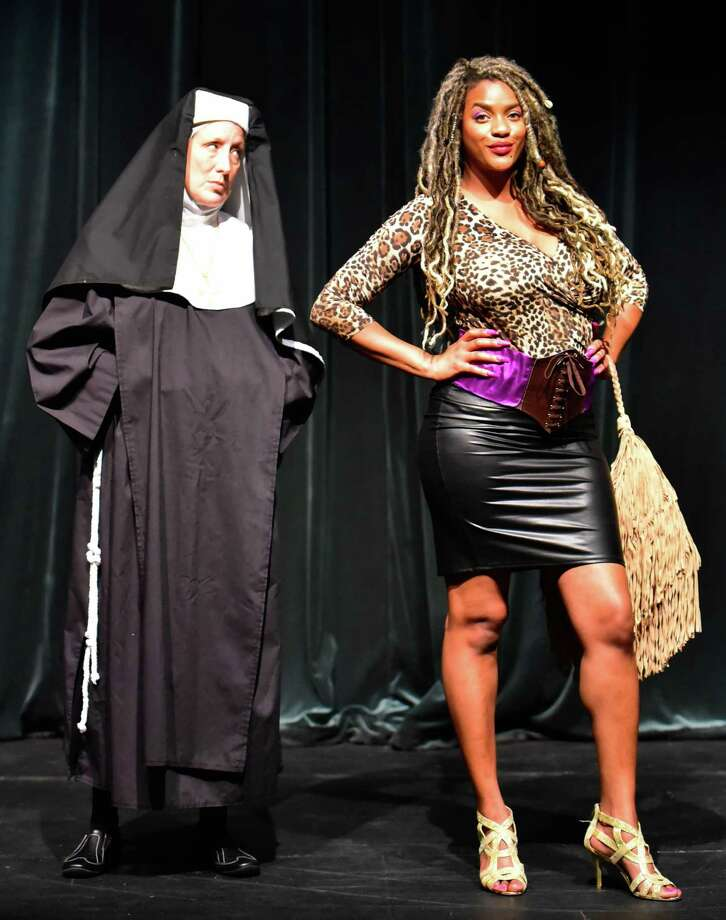 """Nora Hahn plays Mother Superior and Shananda Poulos is Deloris Van Cartier in The Player Theatre Company's """"Sister Act"""" opening at the Owen Theatre on Sept. 4. Photo: Photos Courtesy The Players Theatre Company"""