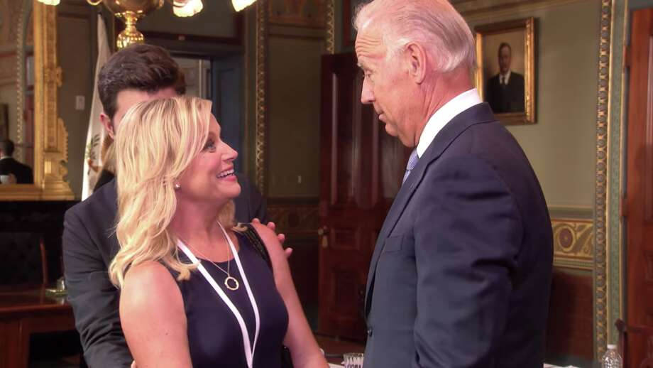 """Former Vice President Joe Biden made two cameos on NBC's """"Parks and Recreation,"""" much to the pleasure of Amy Poehler's character Leslie Knope. Photo: NBC"""