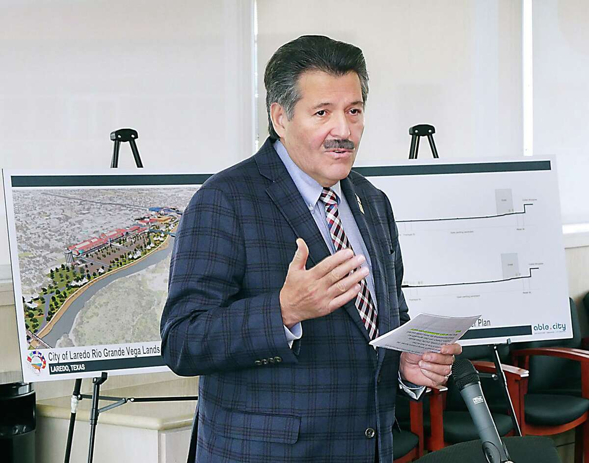Laredo Mayor Pete Saenz discusses potential alternate options for border security during a Jan. 2019 during a press conference to present to U.S. Department of Homeland Security. Saenz wrote a letter to LMT on Tuesday discussing that the city should no longer fight issues such as the wall and razor wire along the riverfronts due to them being unwinnable battles with the federal government.