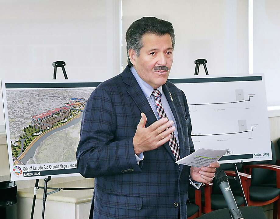 Laredo Mayor Pete Saenz discusses potential alternate options for border security during a Jan. 2019 during a press conference to present to U.S. Department of Homeland Security. Saenz wrote a letter to LMT on Tuesday discussing that the city should no longer fight issues such as the wall and razor wire along the riverfronts due to them being unwinnable battles with the federal government. Photo: Cuate Santos / Laredo Morning Times File / Laredo Morning Times