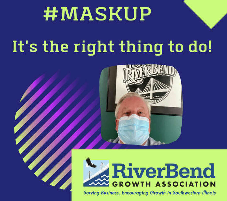 """In a promotional photo, RiverBend Growth Association John Keller urges area residents to """"mask up"""" and help limit the spread of the coronavirus."""