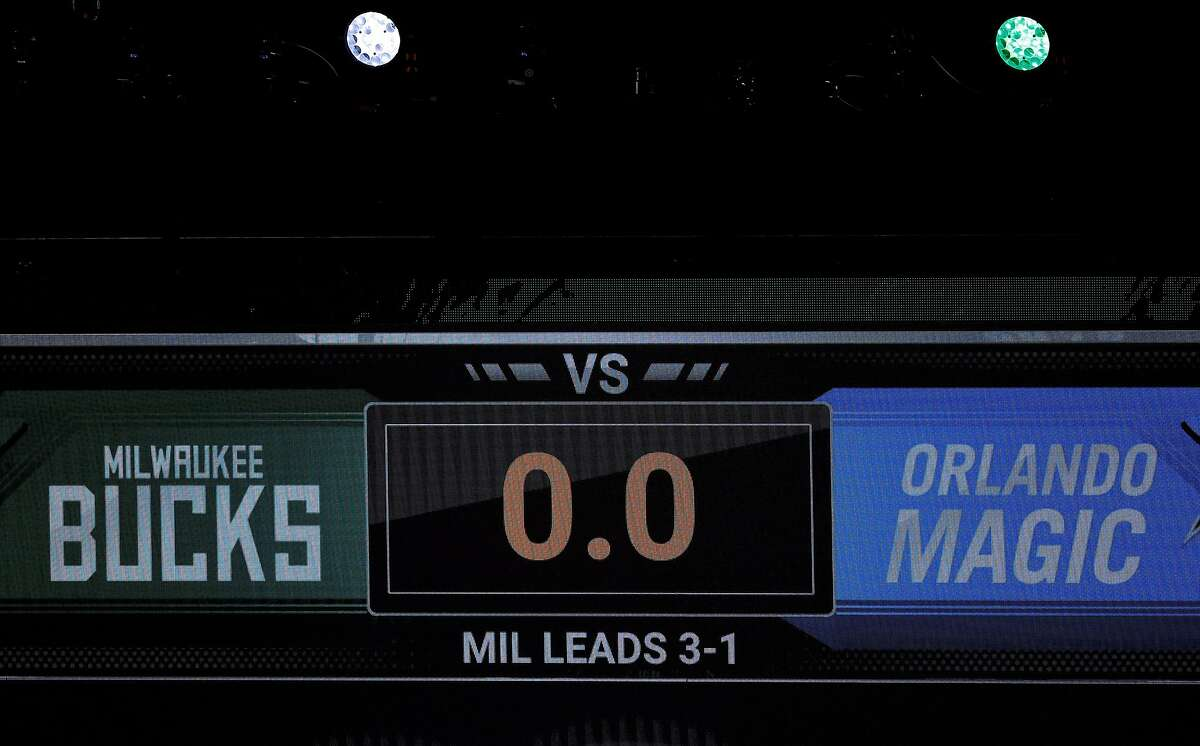 LAKE BUENA VISTA, FLORIDA - AUGUST 26: The game clock sits at 0.0 after the scheduled start time of Game Five of the Eastern Conference First Round between the Milwaukee Bucks and the Orlando Magic during the 2020 NBA Playoffs at AdventHealth Arena at ESPN Wide World Of Sports Complex on August 26, 2020 in Lake Buena Vista, Florida.(Photo by Kevin C. Cox/Getty Images)