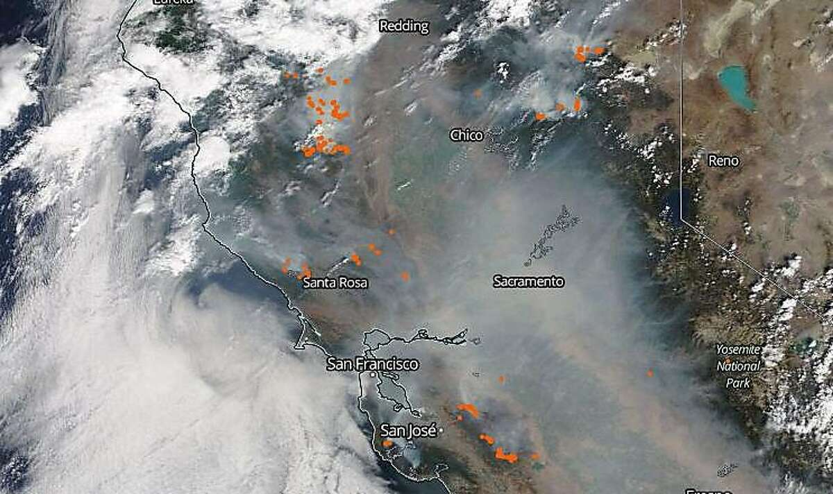 NASA's Terra satellite on Monday, Aug. 22, 2020, captured a view that showed a pall of wildfire smoke covering most of California.