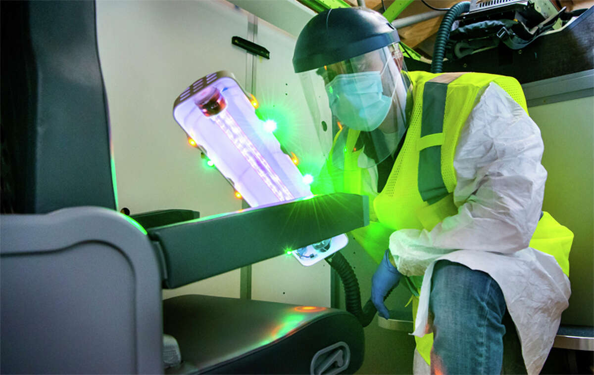 Boeing has developed a portable ultraviolet light product to disinfect aircraft interiors.