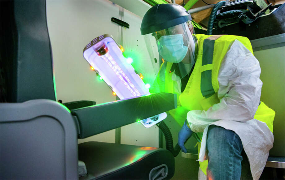 Boeing has developed a portable ultraviolet light product to disinfect aircraft interiors. Photo: Boeing