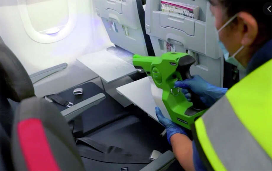 American Airlines is deploying a longer-lasting disinfectant in its electrostatic sprayers. Photo: American Airlines