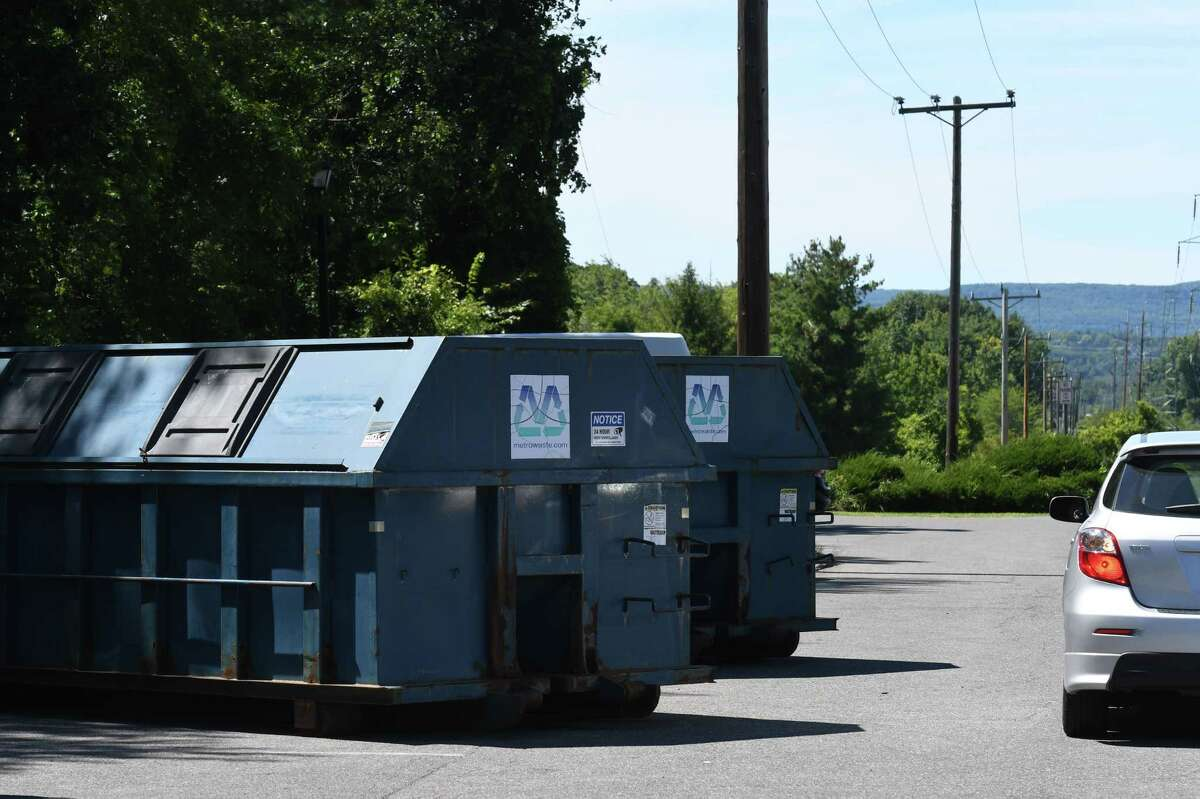 Cardboard recycling bins at the park at ride site at Route 32 and Elm Avenue on Wednesday, Aug. 26, 2020, in Bethlehem, N.Y. Bethlehem plans to close the community cardboard recycling station after increased abuse of illegal dumping amid the COVID-19 pandemic. (Will Waldron/Times Union)