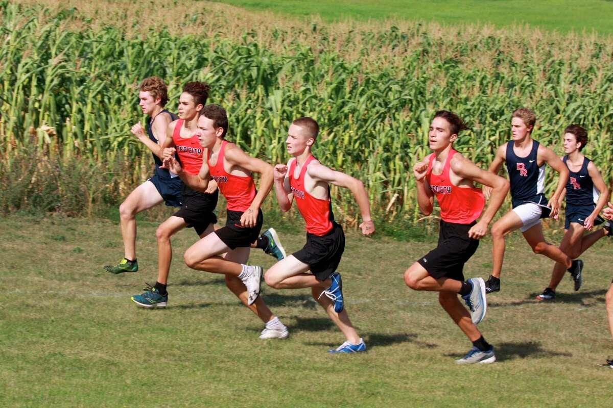 Reed City Freshmen boys Elijah Lentz, Anthony Kiaunis, Ryan Allen, and Izaiah Lentz compete at on Aug. 21. (Courtesy photo)