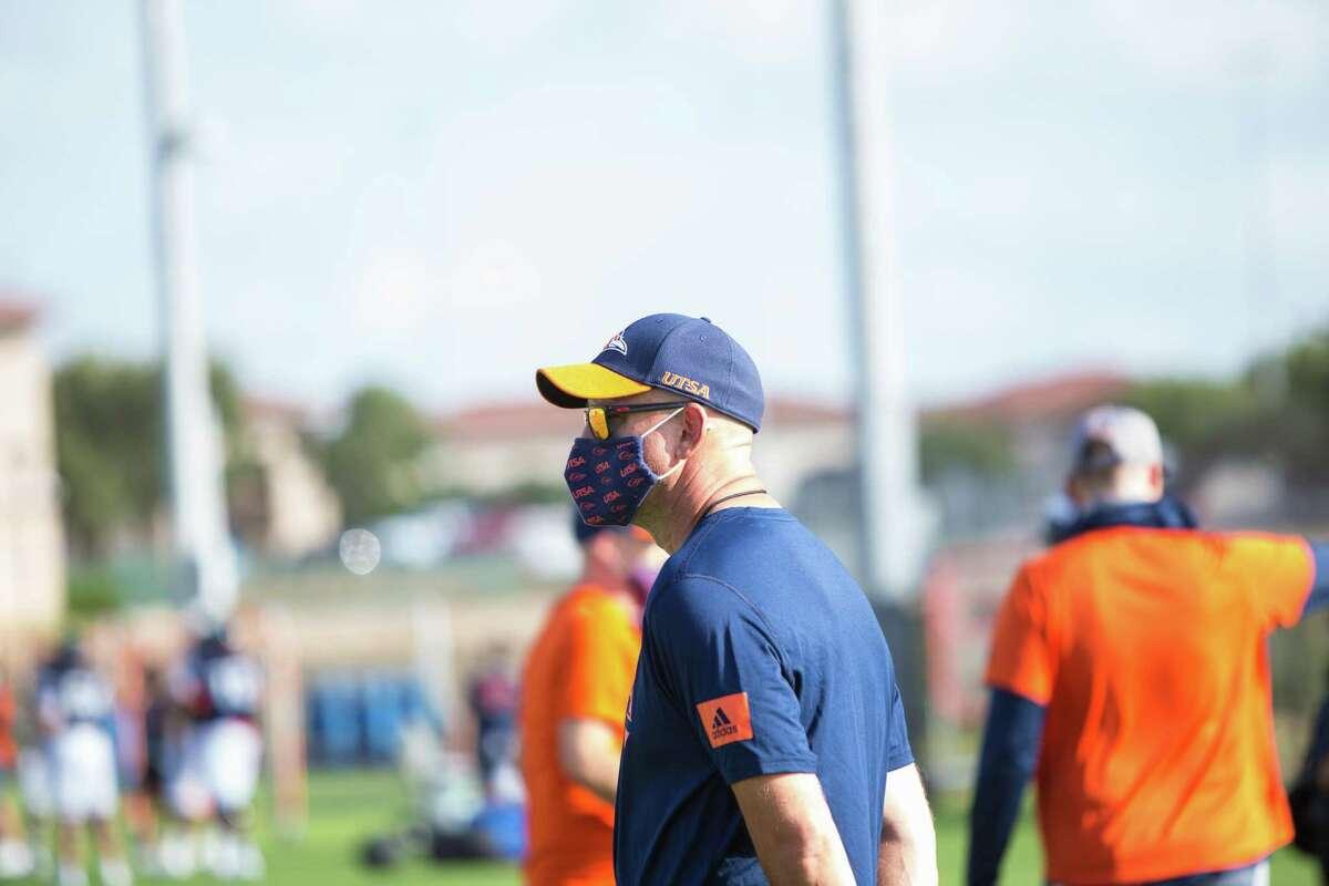 UTSA football coach Jeff Traylor oversees practice on the UTSA campus in San Antonio.