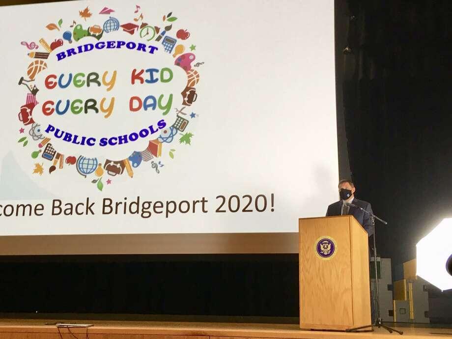 Bridgeport Schools Superintendent Michael Testani at Convocation. Aug. 26, 2020. Harding High School, Bridgeport CT. Photo: Linda Conner Lambeck