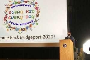 Bridgeport Schools Superintendent Michael Testani at Convocation. Aug. 26, 2020. Harding High School, Bridgeport CT.