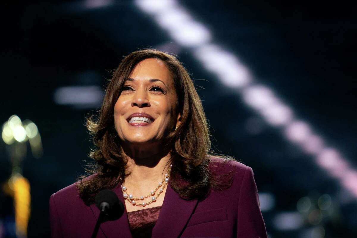 Sen. Kamala Harris (D-Calif.) accepts her party's nomination for vice president in Wilmington, Del., on Wednesday night, Aug. 19, 2020. (Erin Schaff/The New York Times)